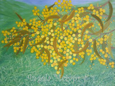 AUSTRALIAN WATTLE, 60.9Wx45.7x4cm, acrylic paint, paper, crayon, $100+P&H