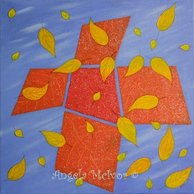AUTUMN ABSTRACT, 40x40x2cm,acrylic paint and glitter glue,$100+P&H