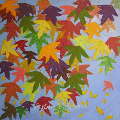 AUTUMN BEAUTY, acrylic paint,glitter card,paper and glitter glue,60x60x4cm,$250+P&H