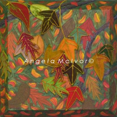 AUTUMN LEAVES, using felt, 30x30cm, with sloping sides, $50+P&H