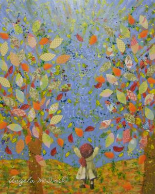 AUTUMN MORNING GLORY,40wx50x2cm, acrylic paint,paper,card,glitter glue,on ply board,$75+P&H