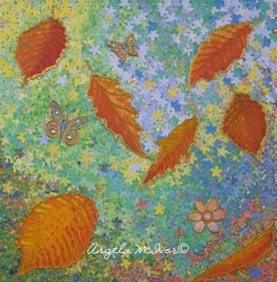 AUTUMN MOSAIC 2, 36wx36x4cm, acrylic paint, paper, glitter glue, gems on canvas, $75+P&H