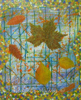 AUTUMN MOSAIC,acrylic paint,paper,ink, glitter glue,50Wx60x4cm,$100+P&H