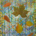 AUTUMN MOSAIC ,acrylic paint, paper, ink, glitter glue, 50Wx60x4cm, $100+P&H