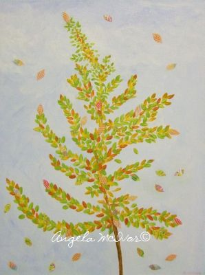 AUTUMN SAPLING, 30wx40x4cm, acrylic and paper on canvas, $50+P&H