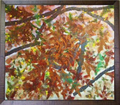 AUTUMN TREE, BROWN EARTHY FRAME, acrylic on board, 86wx76cm, $150+P&H