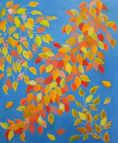 AUTUMN VINE 3, 50wx60x4cm, acrylic paint, paper, card, pastel, on canvas, $175+P&H