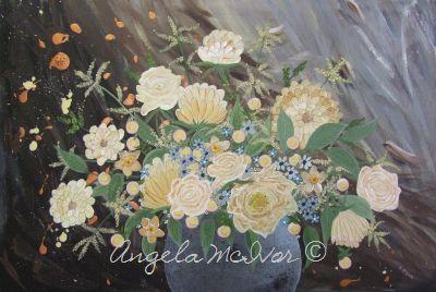 BLUE VASE OF FLOWERS, 76wx50x4cm, $150+P&H