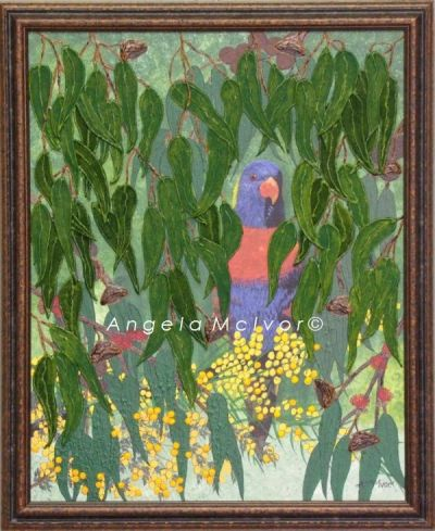 BUSH LORIKEET, FRAMED,using felt, and acrylic,46Wx56cm, with dark brown earthy frame, $100+P&H