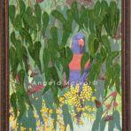 BUSH LORIKEET, FRAMED, using felt, and acrylic, 46Wx56cm, with dark brown earthy frame, $100+P&H