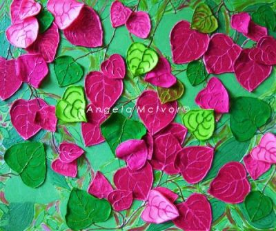 COLOURS OF FIJI, THE BOUGANVILLIA, using felt, 60Wx50x2cm, $150+P&H