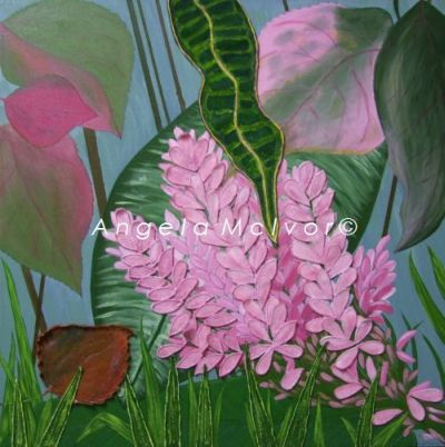 COLOURS OF FIJI, THE GARDENS 3, using felt, 60x60x4cm, $150+P&H