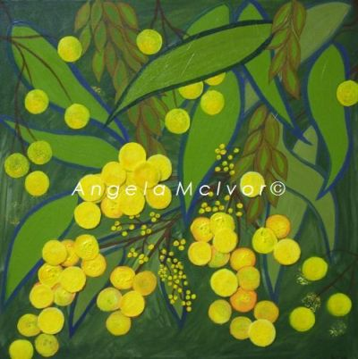 GLORIOUS WATTLE, 45x45x4cm, using acrylic and textile, $100+P&H