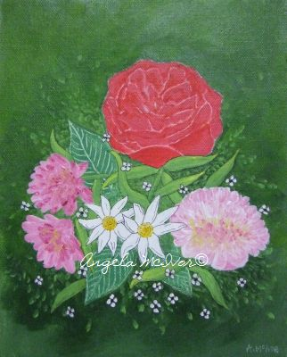 RED ROSE, 20wx25x4cm, acrylic on canvas, $35+P&H