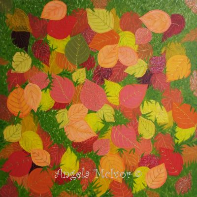 SCATTERED LEAVES,acrylic paint,glitter card,paper,glitter glue,60x60x4cm,$100+P&H