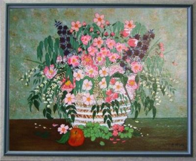 VASE OF FLOWERS, BLUISH FRAME, acrylic on canvas, 56wx46cm, $100+P&H