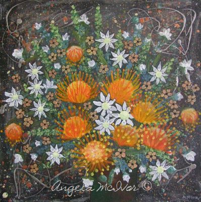 Vase of Orange Flowers, 45x45x4cm, $75+P&H