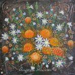 VASE OF ORANGE FLOWERS, acrylic on canvas, 45x45x4cm, $75+P&H