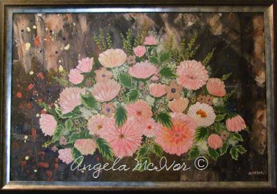 Vase of Pink Flowers, framed, 83wx57cm, $150+P&H