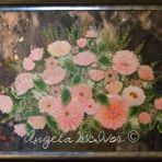 VASE OF PINK FLOWERS, FRAMED, acrylic on canvas, 83wx57cm, $150+P&H