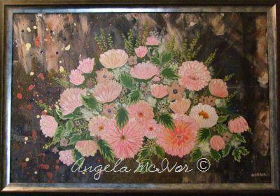 Vase of Pink Flowers, framed, 83wx57cm, $150+P&H