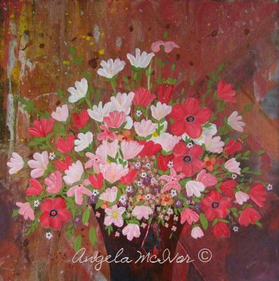 Vase of Red Flowers, 60x60x4cm, $125+P&H