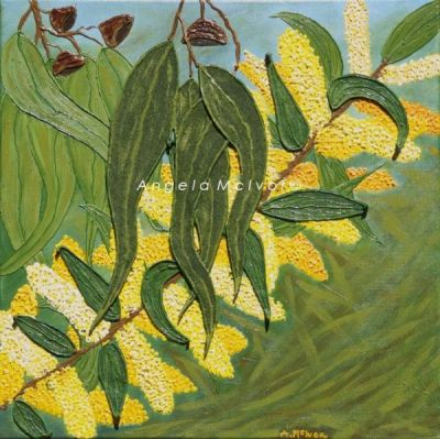 WATTLE '07, 45x45x2cm, acrylic and felt on canvas, $100+P&H