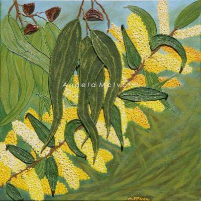 WATTLE '07, 45x45x2cm, acrylic and felt on canvas, $100+P&H