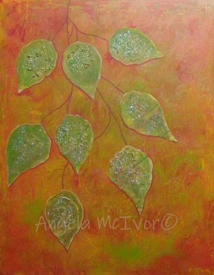 autumn in orange, 40wx50x2cm, acrylic and paper and glitter on canvas, $65+p&h