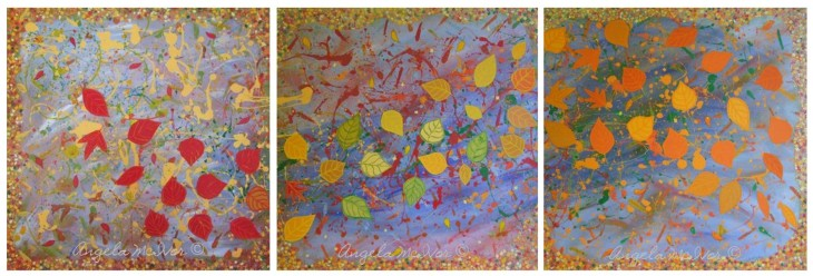 autumn joy, red, yellow, orange, acrylic and card and glitter and pastel, on canvas, set of 3, each 60x60x4cm, $600 + p and h