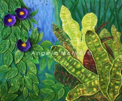 COLOURS OF FIJI, THE GARDENS 1, using felt, 60wx50x2cm, $250+p&h