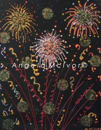 fireworks 3, using glitter, 27.5wx35x2cm, $150+p&h