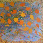 AUTUMN JOY,ORANGE, acrylic paint,pastel,card, glitter glue,60x60x4cm,$250+P&H This is no 3 of three