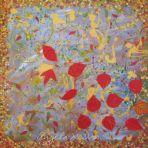 AUTUMN JOY,RED,acrylic paint,pastel,card,glitter glue,on canvas,60x60x4cm,$250+P&H This is no 1 of three