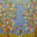 AUTUMN MORNING GLORY,40wx50x2cm, acrylic paint,paper,card,glitter glue,on ply board,$250+P&H