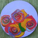 MULTI COLOURED ROSES, acrylic on canvas, 30cm diameter, round, $65+P&H