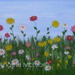 WILD FLOWERS, acrylic on canvas,60wx30x2cm, $200+P&H